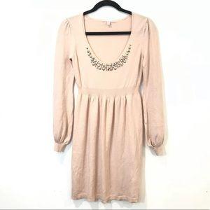 Rebecca Taylor Silk Cashmere Jeweled Sweater Dress
